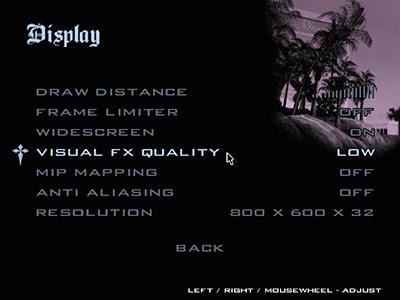 Pengaturan minimum tampilan game GTA San Andreas