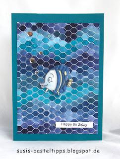 Fisch, geburtstagskarte meer, unterwasser, verschiedene HIntergrund Variationen mit dem Stampin' Up! Stempel all wired up und Farben, Idee von Stampin' Up! Demonstratorin in Coburg