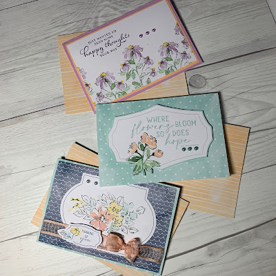 Three greeting cards using Stampin' Up! Hand-Penned Memories & More Card Packs