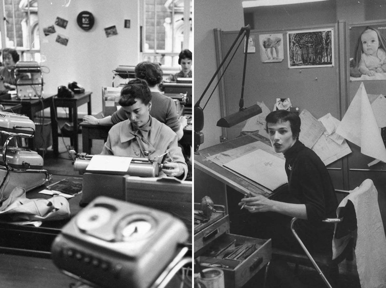 (Left) Women at work in a typing pool at Shell Mex House in London. The woman at the front wears a jacket and scarf with a brooch and earrings. Her hair is cut short on her forehead, and like the other women shown, is worn waved. 1955. (Right) This woman sits at an illustrator's desk. She is dressed in black and wears a turtleneck sweater. Her hair is cut very short. 1957.