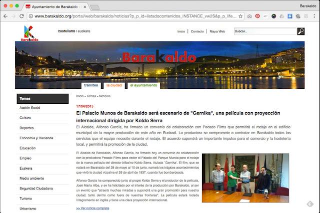 Noticia del pasado mandato, en la web del Ayuntamiento