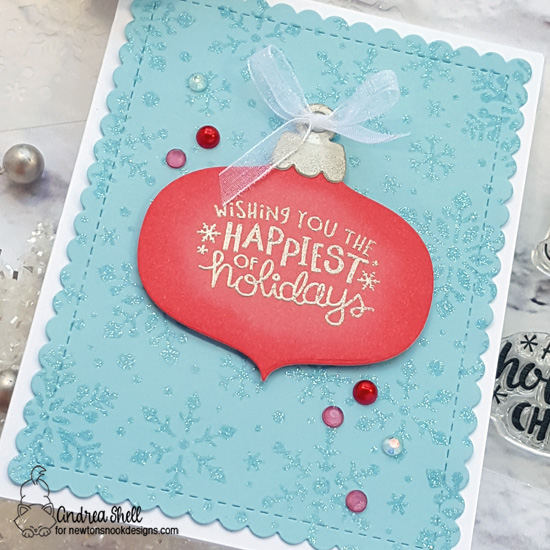 Newton's Nook Designs & WOW Embossing Powders Inspiration Week - Holiday Ornament card by Andrea Shell | Ornamental Wishes Stamp Set, Ornament Shaker Die Set, and Snowfall Stencil by Newton's Nook Designs with embossing powder by WOW! #newtonsnook #wowembossing