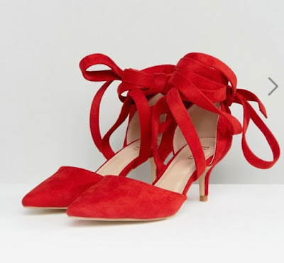 raid tanisha red kitten heel ankle tie shoes