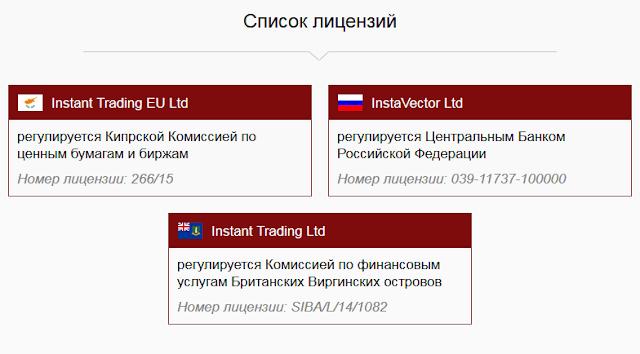 Список лицензий InstaForex