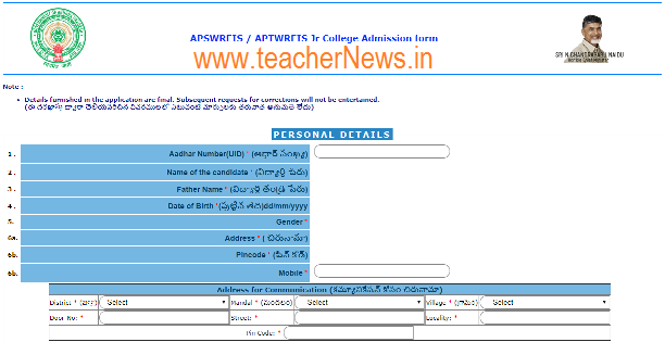 APSWREIS Inter Notification 2019 | APSWR Junior College Admission Online Apply