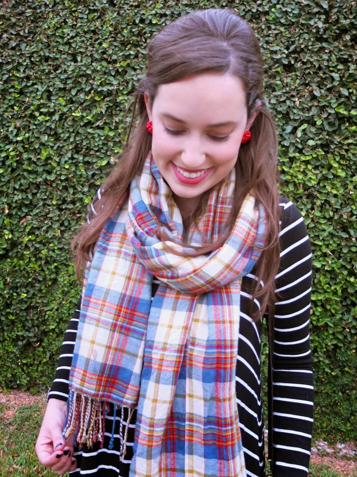 Lisi Lerch Earrings, Lisi Lerch Red Earrings, Lisi Lerch Button Earrings, Lisi Lerch Button, Red Button Earrings, The Lone Star Looking Glass Blog, Zara Plaid Blanket Scarf, Zara Blanket Scar, Zara Plaid Scarf, Plaid Scarf, Anthropologie Black and White Stripe Dress, Anthroplogie Stripe Dress