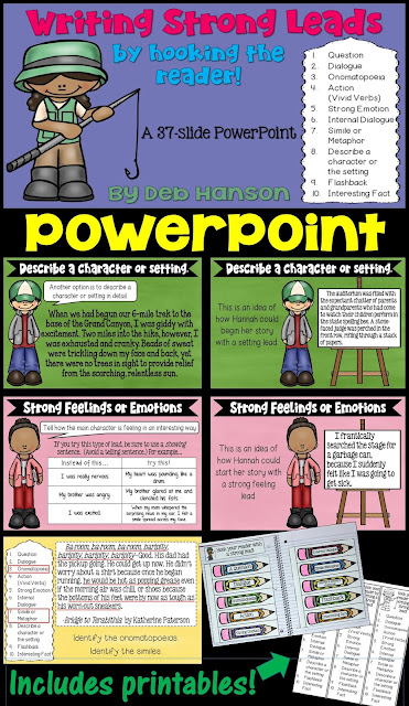 This writing PowerPoint teaches students ten different types of leads they can use when writing!