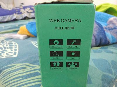 Tampilan Samping Kiri Kotak Kemasan Generic Autofocus Webcam 2K Full HD