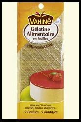 Feuilles de gélatine alimentaire Vahiné