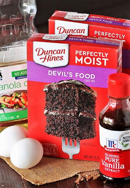 Chocolate Crinkle Cake Mix Cookies Ingredients Image