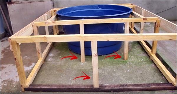 fazendo a piscina de caixa d'água