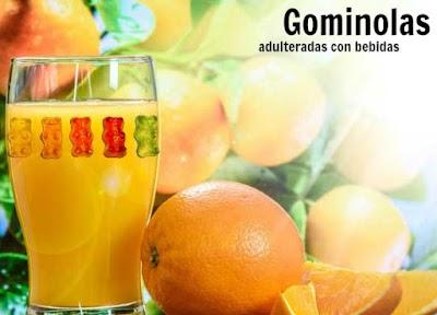 Experimento con gominolas adulteradas en bebidas de diferentes clases