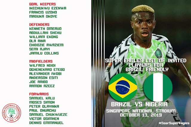 Check: Super eagles coach invitee against Brazil