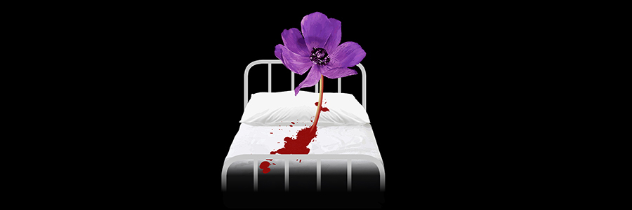 A blackground with a white bed on that has blood and a flower on.