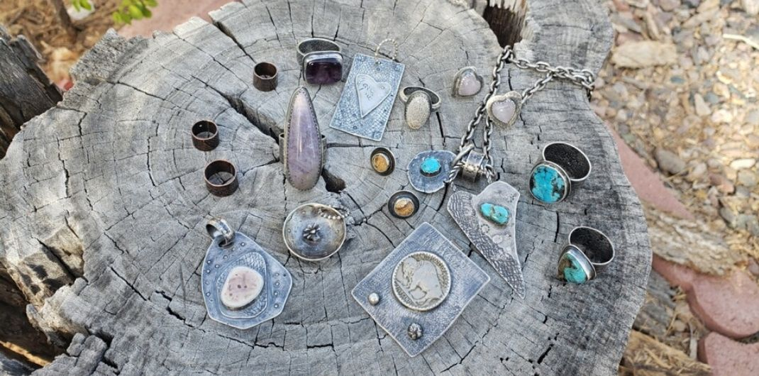 silver jewelry collection with semiprecious stones