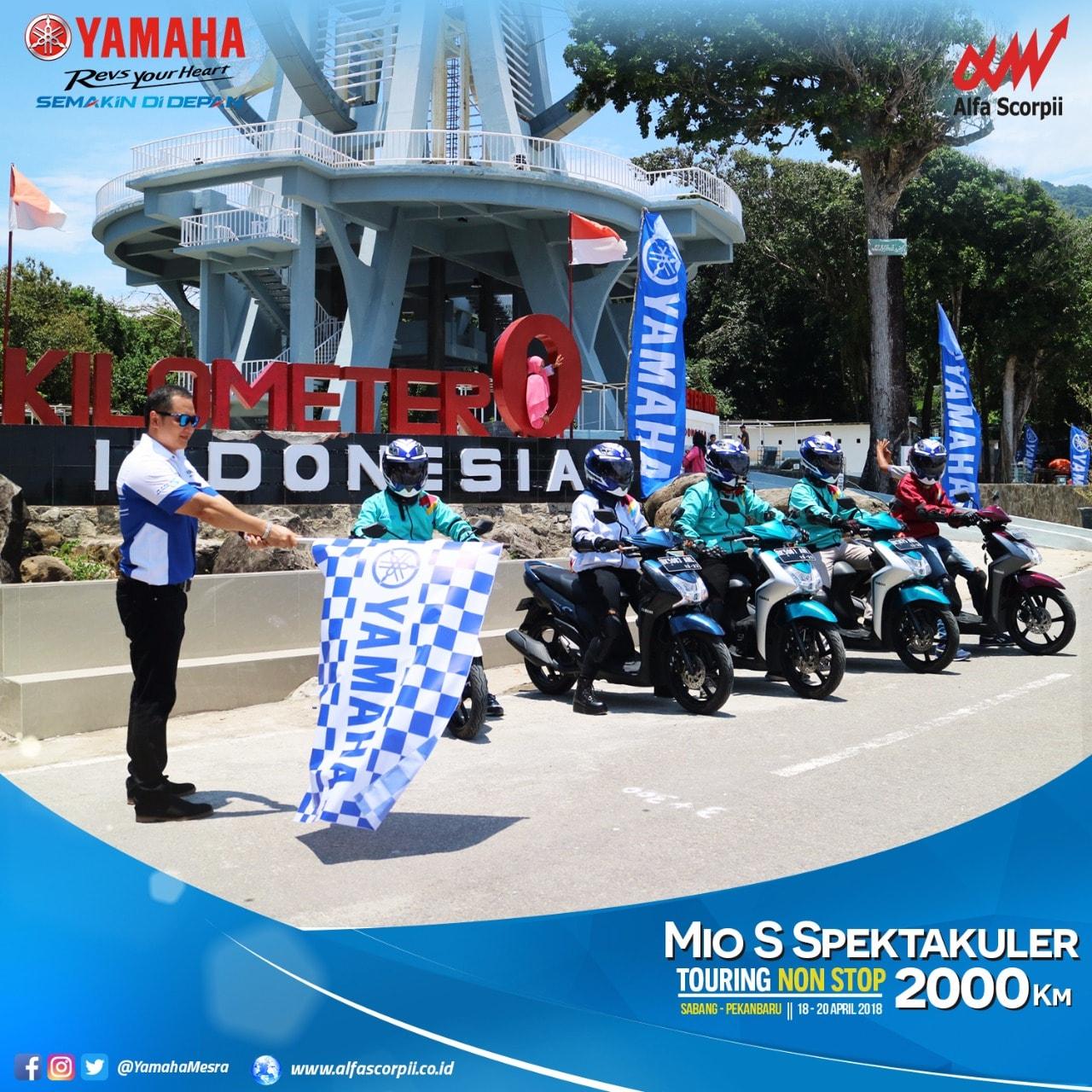 Alfa Scorpii pamerkan keunggulan Yamaha MIO S dengan touring 2000 KM dari Sabang sampai Pekanbaru nonstop !