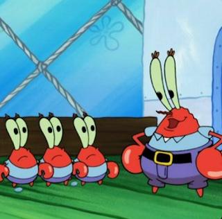 Polosan meme tuan krab 13 - tuan krab dan tiga boneka bayi kepiting yang mirip dengan dirinya, atau malah memang keponakannya ?