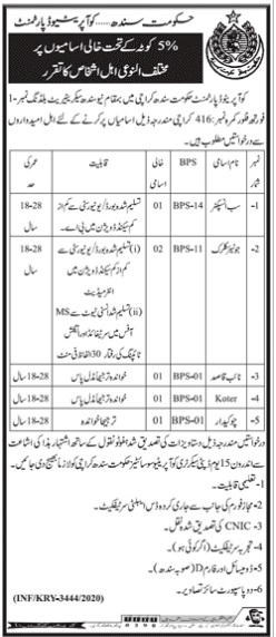 Cooperative Department Karachi Jobs 2020 for Sub-Inspector and Junior Clerk