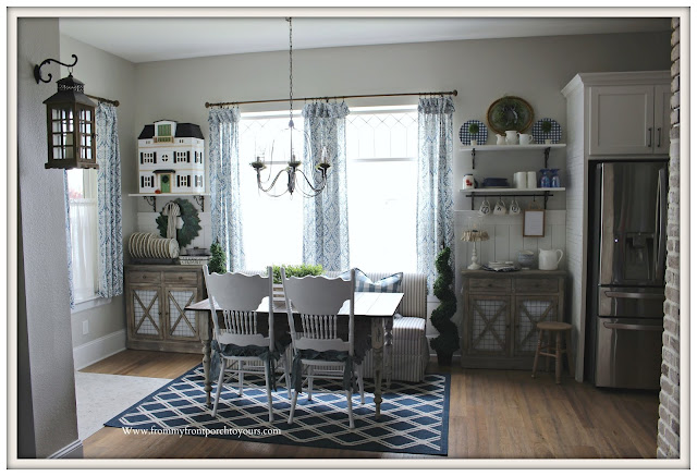 Breakfast -Nook -Makeover-DIY-French-Country-Farmhouse-Cottage Style-Blue & White DEcore-Wainscoting-Open Shelving-Buffalo Check-Damask-From My Front Porch To Yours