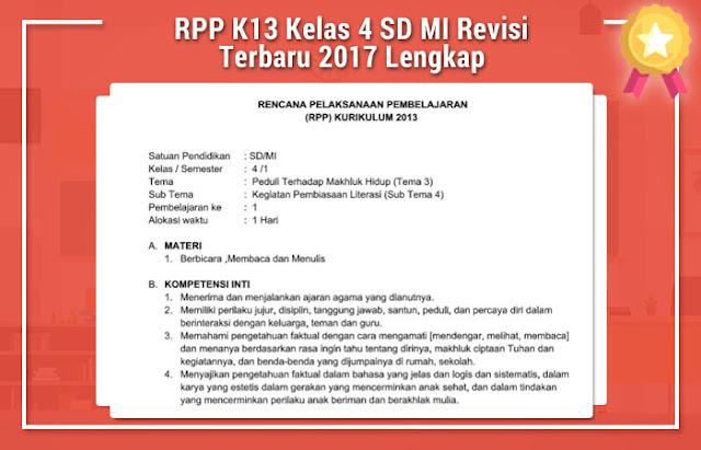 RPP K13 Kelas 4 SD MI Revisi Terbaru 2017 Lengkap