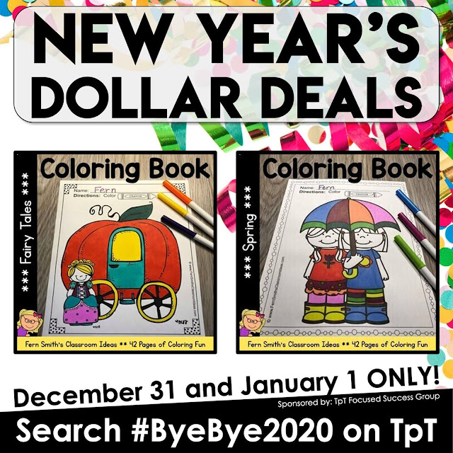 My Fairy Tales Coloring Pages & Spring Coloring Pages are ONE DOLLAR each during our #ByeBye2020 $1 Sale Dec. 31 & Jan 1st #FernSmithsClassroomIdeas