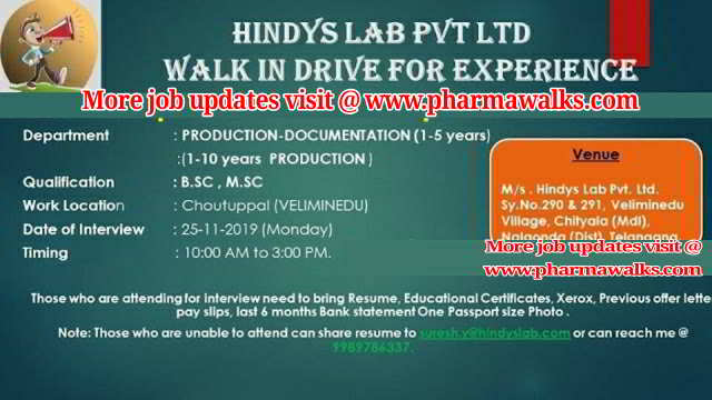Hindys Laboratories walk-in interview for Production department on 25th Nov' 2019