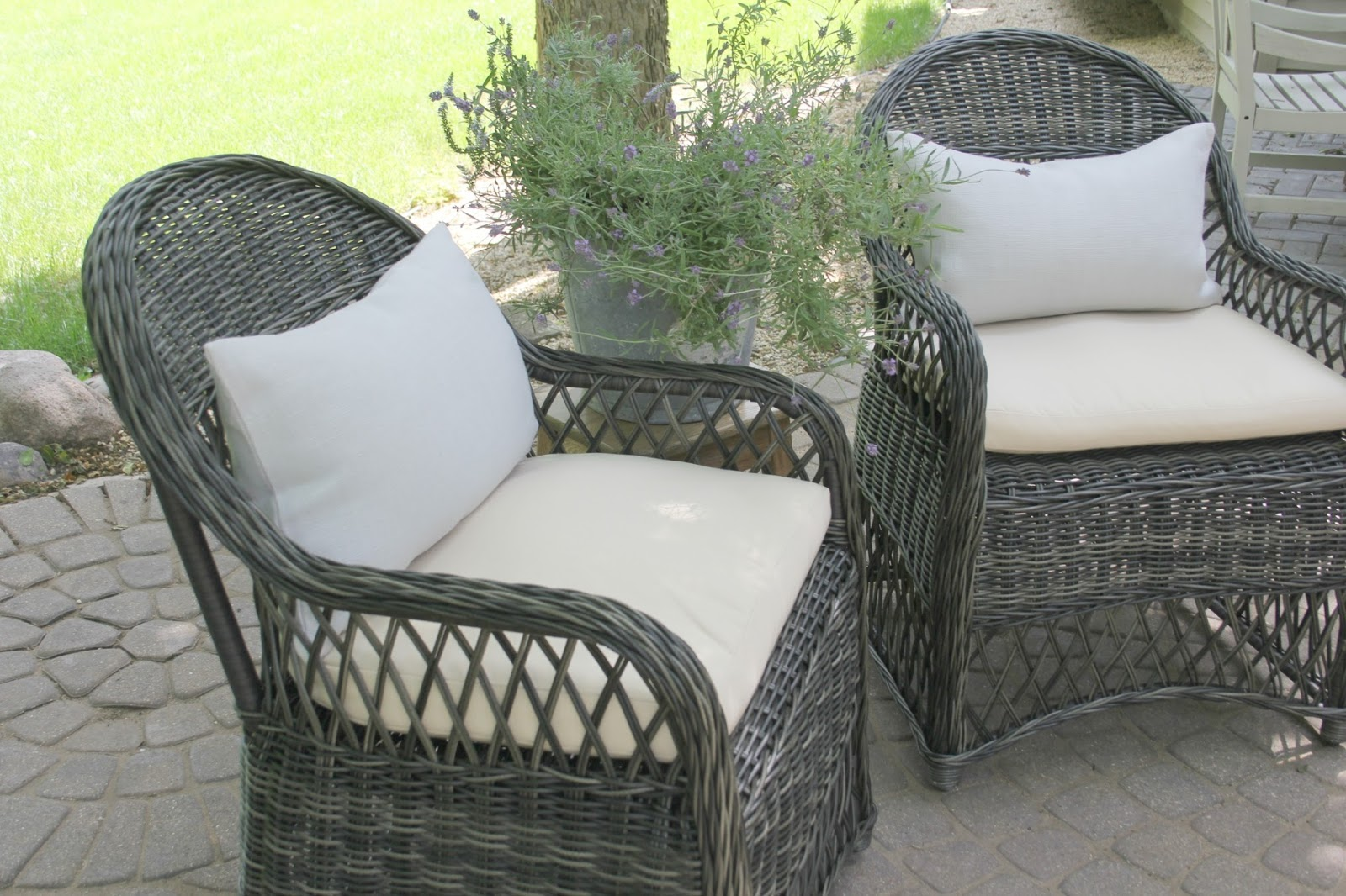 Gorgeous wicker Davies chairs (Decor Market) on patio - Hello Lovely Studio