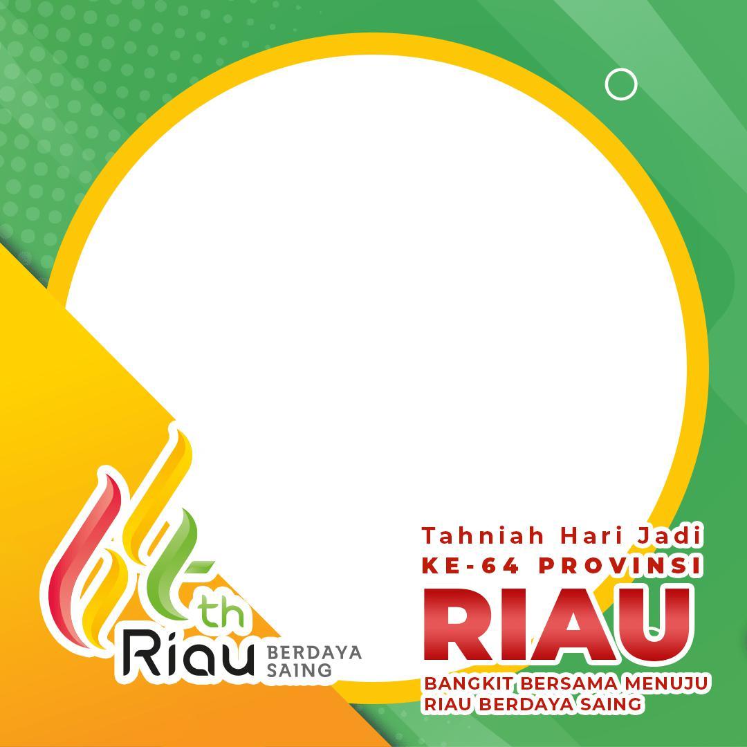 Desain Background Frame Twibbon HUT Provinsi Riau ke-64 Tahun 2021