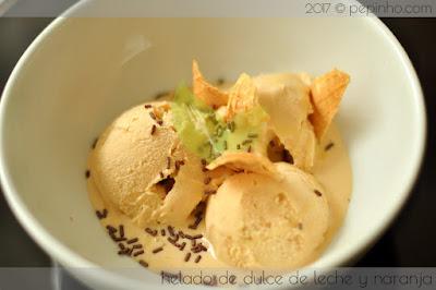 Helado de dulce de leche y naranja (artesano)