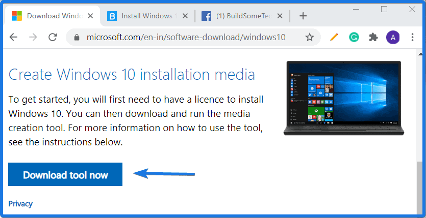 Create Windows 10 installation media