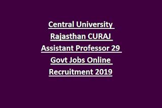 Central University Rajasthan CURAJ Assistant Professor 29 Govt Jobs Online Recruitment Notification 2019