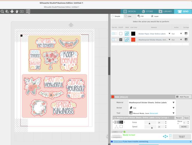 stickers, cameo 4, sticker paper, silhouette studio v4, cut settings