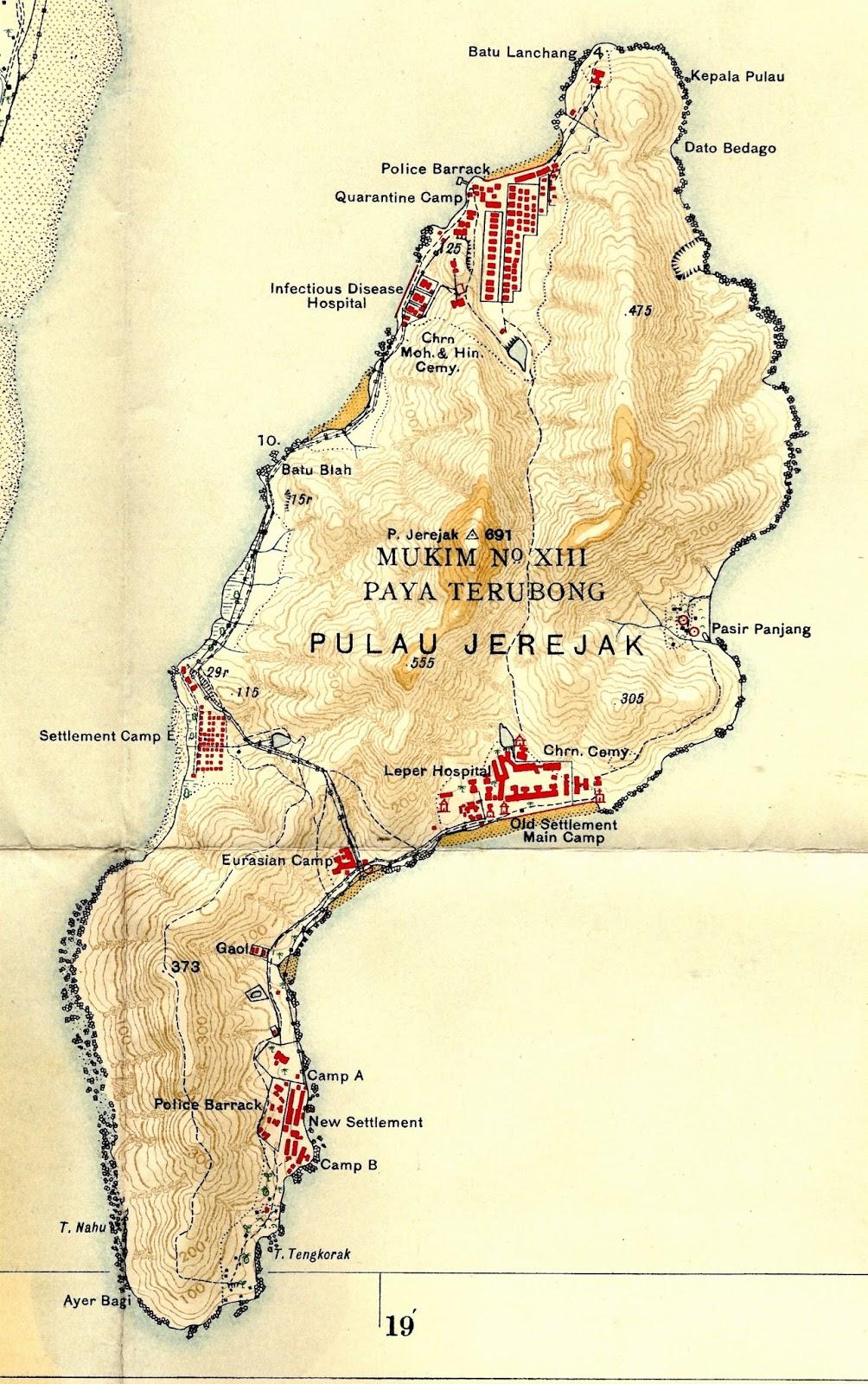 1935 ordinance survey os map of jerejak provided by mike gibby