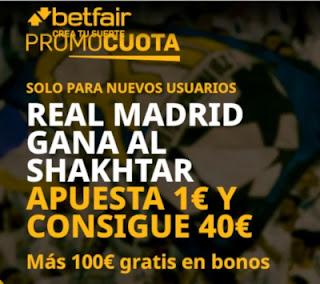 betfair promocuota champions Real Madrid gana Shakhtar 1 diciembre 2020