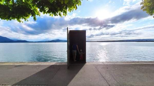 Entrance to the underwater observatory in Lake Zug, Switzerland