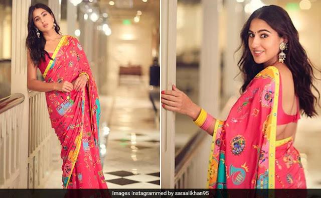 Sara Ali Khan Looking Brightful in Saree
