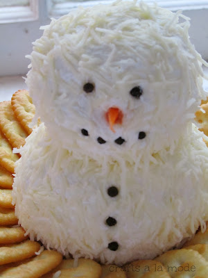 snowman cheeseball with mozzarella cheese