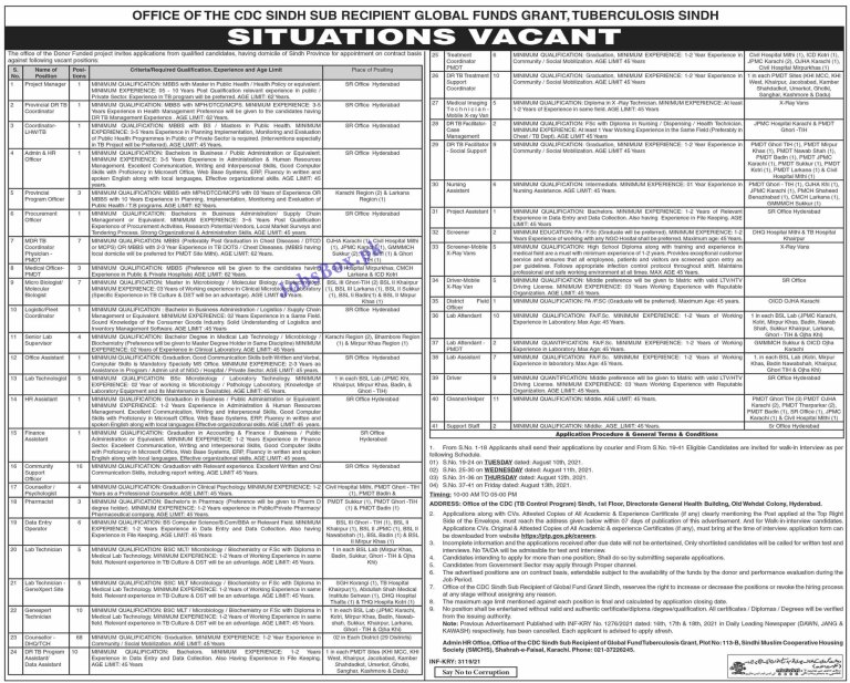 Provincial TB Control Program PTP Sindh Jobs 2021 – www.ptp.gos.pk