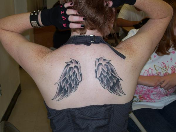 Tattoo Pictures Image Gallery Beautiful Girl Angel Wing Back Tattoo