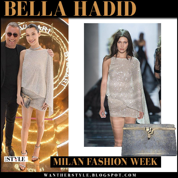 Bella Hadid in sequin crystal sequin mini dress what she wore milan fashion week party style
