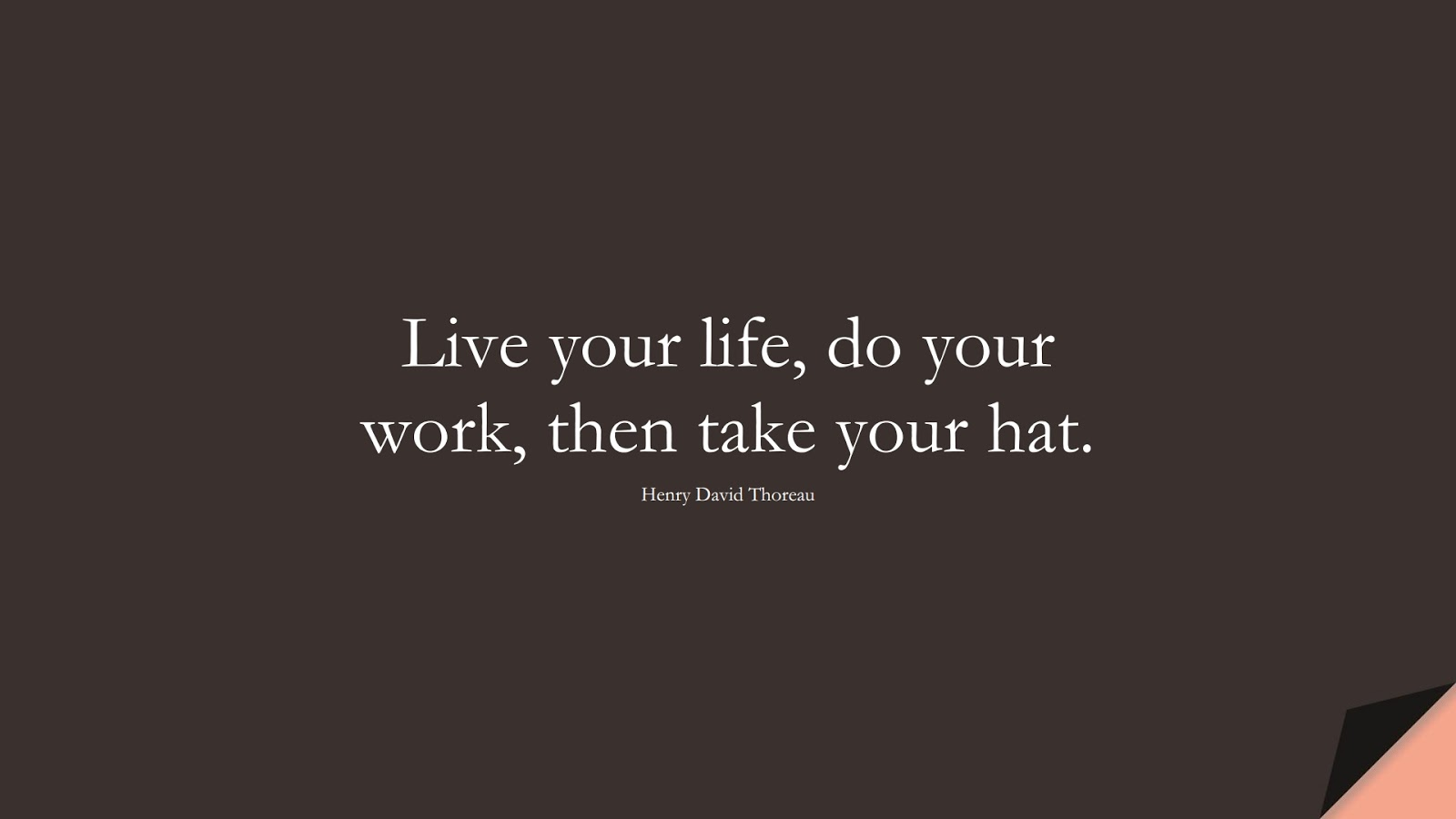 Live your life, do your work, then take your hat. (Henry David Thoreau);  #ShortQuotes
