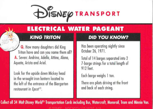 Electrical Water Pagent Disney Transportation Card 11 out of 14 Backside