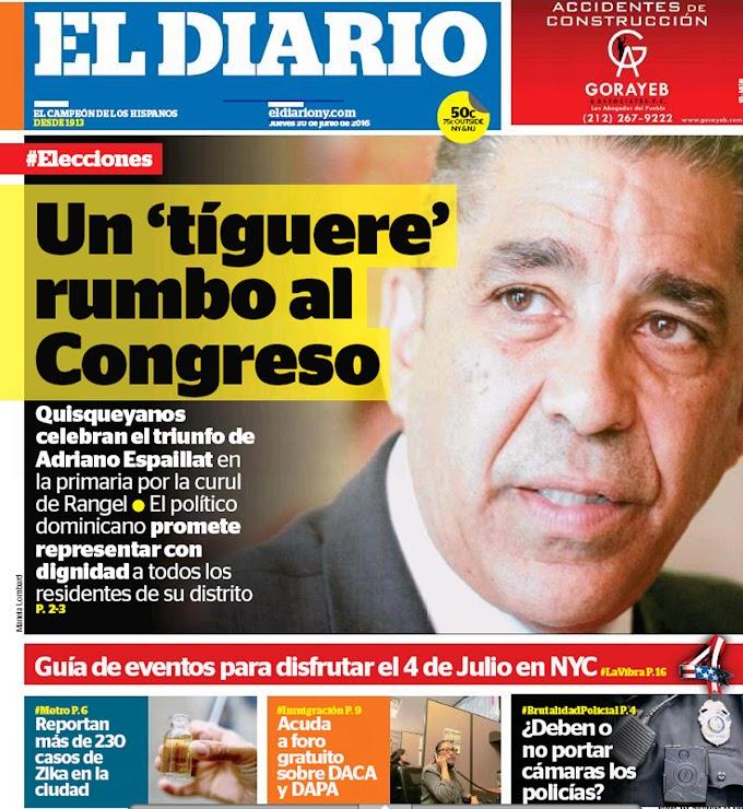 """El Diario se disculpa por calificar como """"tiguere"""" a Espaillat en  portada sobre primarias demócratas"""