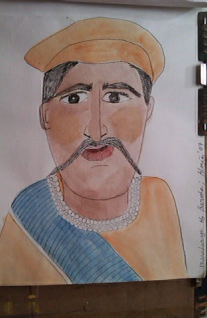 """Maharajah of Baroda"" sketch by Gloria Poole; yr 2007"