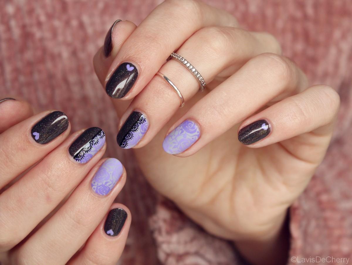 nail-art-saint-valentin-dentelle-violet-holographique-dégradé