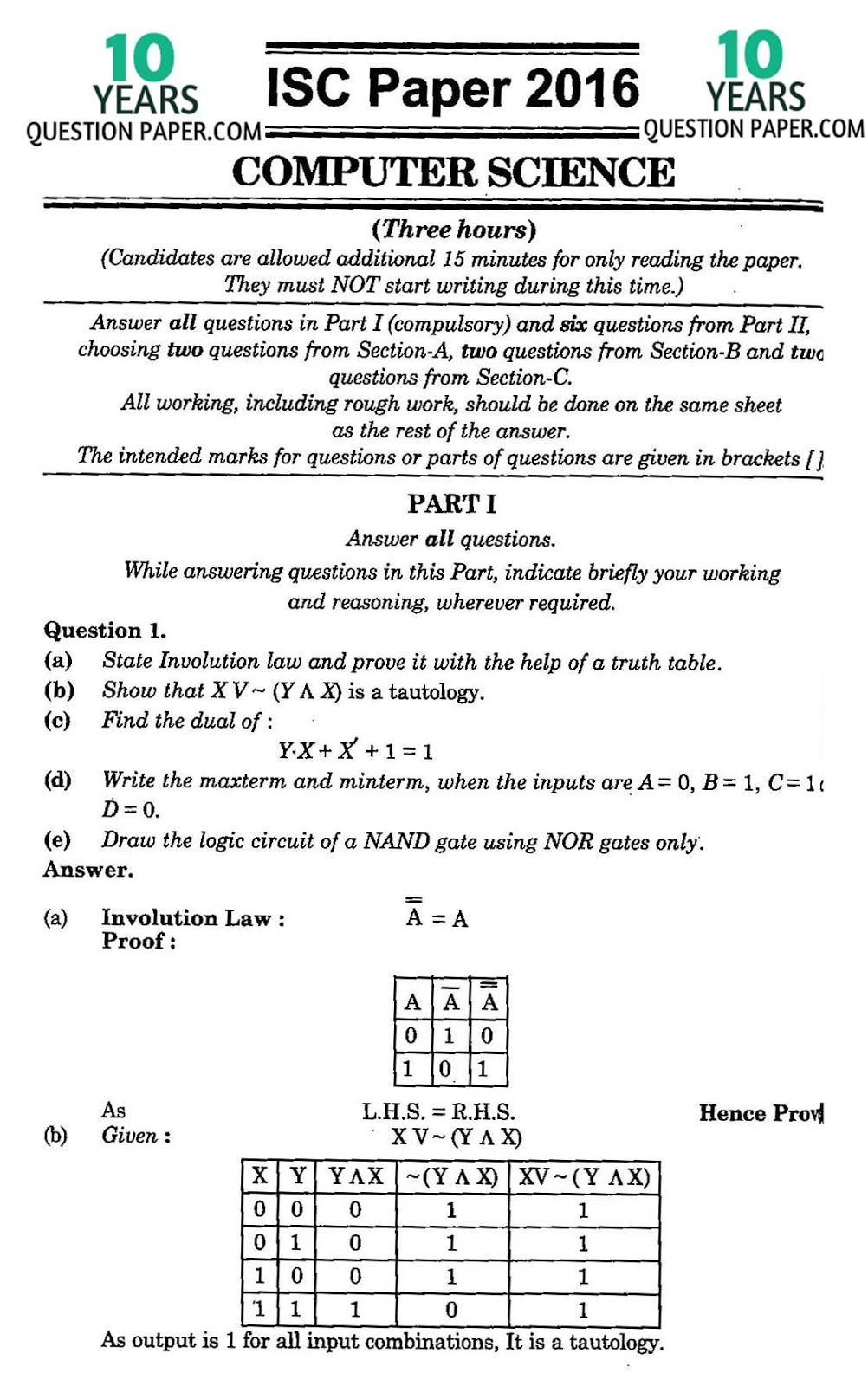 isc computer science solved paper years question paper note the solution will be sent in your email in 24 hr