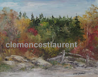 Old lot, oil, 8 x 10 - crumbling wood fence along a rocky trail with multicolor fall forest, by Clemence St. Laurent