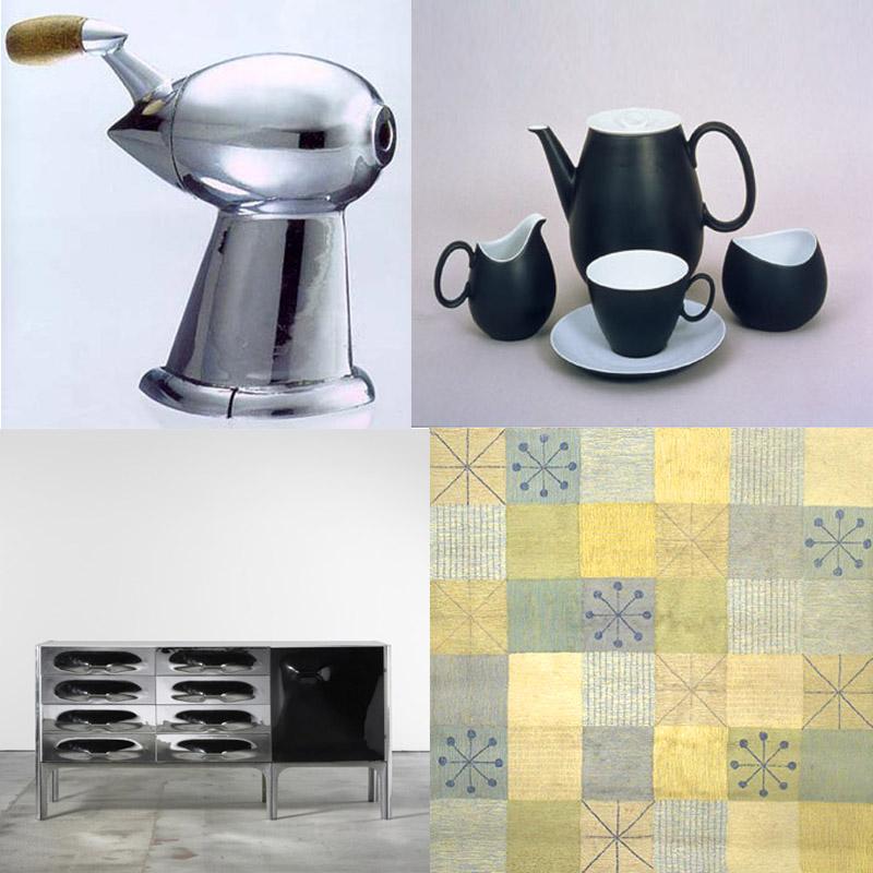 Pencil sharpener, tea set, carpet and furniture by Loewy