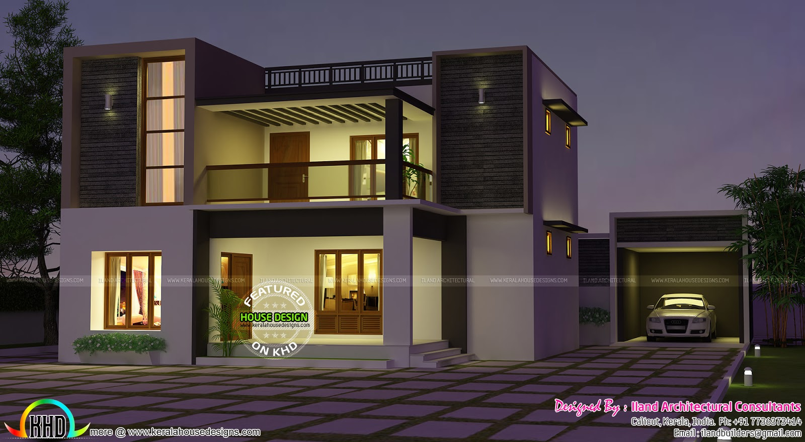 Flat Roof 3680 Sq Ft 3 Bedroom Home Kerala Home Design And Floor Plans