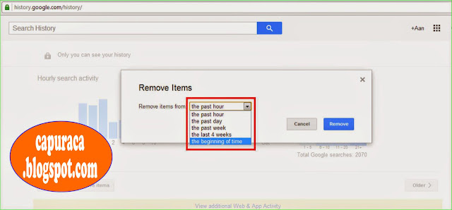 Cara menghapus Google search history,rentang waktu history,